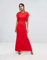 Elise Ryan Embellished Trim Maxi Dress With Fluted Sleeve Red
