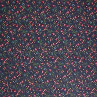 Oddies Textiles Denim Small Floral Print Fabric Blue
