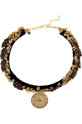 Finds Masterpeace Oak Leaves Gold Tone Amber And Velvet Necklace