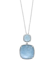 Effy 925 Sterling Silver And Milky Aquamarine Pendant Necklace Blue