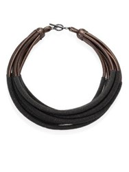 Brunello Cucinelli Tubular Leather Necklace Ultra Black