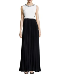Rebecca Taylor Sleeveless Combo Pleated Skirt Long Dress