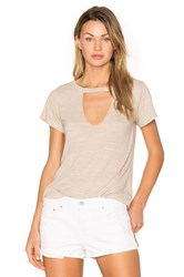 Lna Short Sleeve Cut Out V Tee Taupe