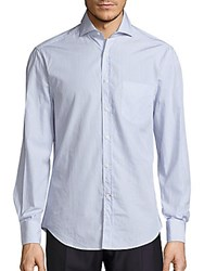 Brunello Cucinelli Pinstripe Long Sleeve Cotton Shirt Blue