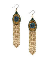 Lucky Brand Pave Peacock Goldtone Fringed Drop Earrings