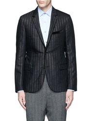Lanvin Glitter Stripe Wool Tuxedo Blazer Black Metallic