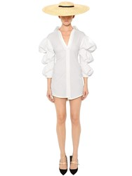 Jacquemus Puffed Sleeves Cotton Poplin Shirtdress