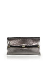 Diane Von Furstenberg 440 Metallic Reptile Embossed Leather Envelope Clutch Pewter