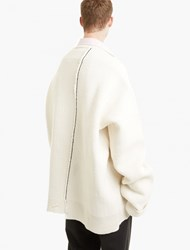 Raf Simons Off White Oversized Sailor Sweater Beige