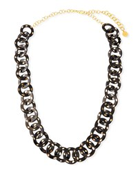 Nest Long Horn Circle Link Necklace Animal Print