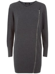 Jaeger Wool Zip Front Cardigan Charcoal