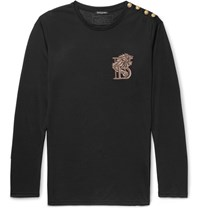Balmain Slim Fit Embroidered Cotton Jersey T Shirt Black