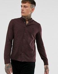 Religion Slim Fit Jersey Shirt With Grandad Collar In Burgundy Red