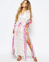 Maison Scotch Kaftan Maxi Dress With Embroidery And Tassles Cream
