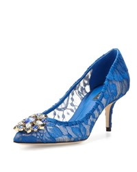 Dolce And Gabbana Jewel Embellished Lace Pump Blu