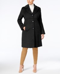 Jones New York Plus Size Notched Shawl Collar Walker Coat Black