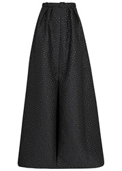 Jenny Packham Black Embroidered Satin Maxi Skirt