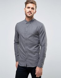 Only And Sons Denim Shirt In Washed Black In Slim Fit Black