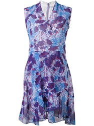 Carven Patterned Wrap Dress Women Silk Polyester Acetate 40 Pink Purple