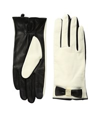 Kate Spade Hardware Bow Tech Gloves Cream Black Extreme Cold Weather Gloves Bone