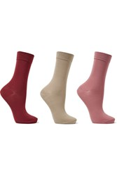 Falke Set Of Three Stretch Cotton Blend Socks Beige