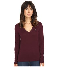Lacoste Long Sleeve Cotton Jersey V Neck Tee Shirt Red Grape Women's T Shirt