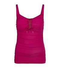 Gottex Ruched Lace Neck Tankini Top Pink