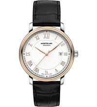 Montblanc 114336 Tradition Red Gold Plated Stainless Steel And Leather Watch