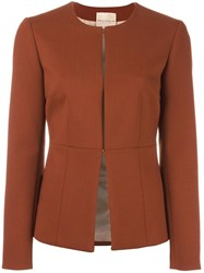Erika Cavallini Collarless Fitted Jacket Brown