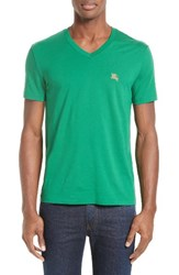 Burberry Men's Brit 'Lindon' V Neck Cotton T Shirt Dark Pigment Green
