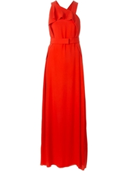 Iceberg Front Ruffle Belted Dress Red