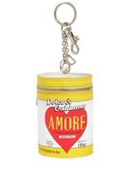 Dolce And Gabbana Amore Can Leather Keychain Yellow