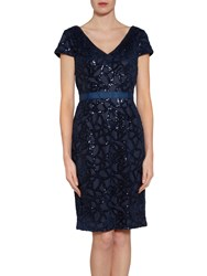 Gina Bacconi Sequin Net Dress Spring Navy
