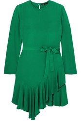 Maje Romea Belted Asymmetric Ruffled Crepe Dress Green