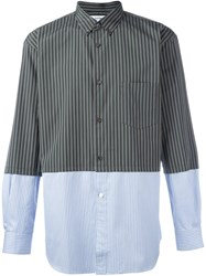 Comme Des Garcons Shirt Striped Panelled Shirt Green