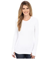 Allen Allen L S Thumbhole Tee Thermal Crew White Women's Long Sleeve Pullover