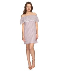 Brigitte Bailey Finley Off The Shoulder Raw Edge Striped Dress Red Ivory Women's Dress