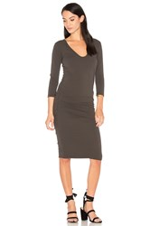 James Perse V Neck Skinny Dress Charcoal