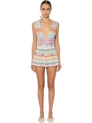 Missoni Zig Zag Viscose Knit Lame Romper Multicolor
