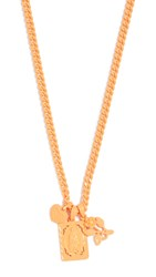 Luv Aj The Rainbow Triple Charm Necklace Neon Orange