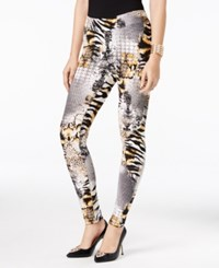 Thalia Sodi Printed Pull On Leggings Only At Macy's Deep Black Combo