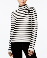 Maison Jules Striped Mock Neck Sweater Only At Macy's Egret Combo