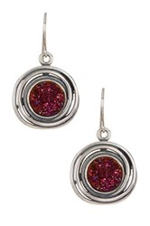 Sterling Silver Druzy Stone Earrings Red
