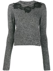 Dolce And Gabbana Lace Detail Jumper Black