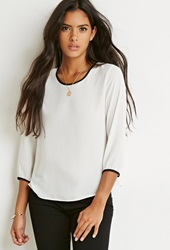 Forever 21 Contrast Trim Chiffon Blouse Cream Black