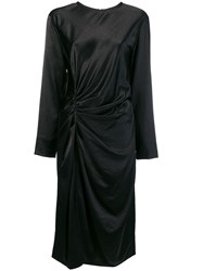 Helmut Lang Midi Draped Dress Black