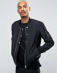 Esprit Quilted Nylon Bomber Jacket In Black Black