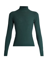Acne Studios Ida Roll Neck Ribbed Knit Sweater Green
