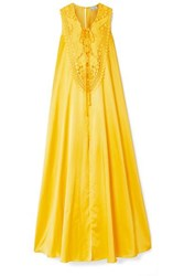 Miguelina Lana Crochet Trimmed Silk And Cotton Blend Maxi Dress Marigold