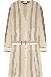 Belstaff Madison Striped Silk Crepe De Chine Dress White